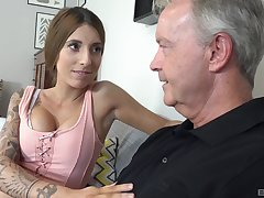Unpremeditated old dude gets to bang lovely babe Kate on the settee