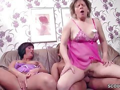 German Step-Mature and Aunt Seduce 18 Years Aged Boy to Make Love her