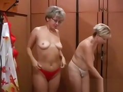 Two blonde MILF in skivvies get wild with a young gigolo