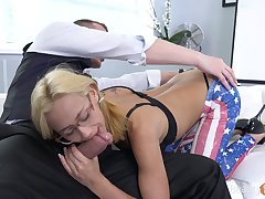 Petite blond chick Veronica Leal gets fucked and takes cumshots superior to before her glasses