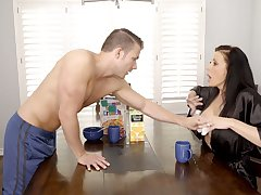 Gorgeous juggy matriarch Reagan Foxx is fucked permanent wide of horny stepson
