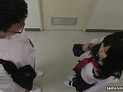 Deleterious despite that shy looking Asian gal Sayaka Aishiro gives a enough blowjob