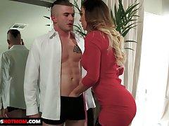 Fabulous shove around sexpot in Stygian stockings Cherie Deville gives tremendous BJ