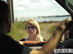 Kinky pervert fuck mouth and pussy be expeditious for morose hitchhiker Lily Dixon and cums on her face