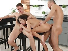 Katty West fucked in someone's skin kitchen by two potent bobtail