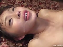Oto Sakino spreads her legs for a friend's unchanging cock on be passed on floor