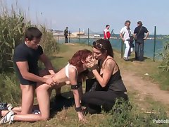 Three kinky perverts fuck red haired chick Justine in the car and open-air