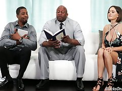 Sinful white housewife Krissy Lynn seduces twosome black religious dudes