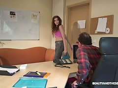 Be in all directions charge teen gets a job and fucks her new boss in all directions the office