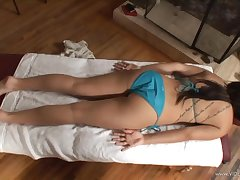 Babe with navel piercing gets oiled, massaged and fucked