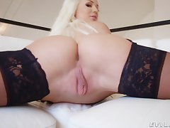 Elsa Jean strips and teases with say no to juicy pussy and gets a facial