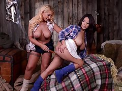 Bosomy cowgirls Kyra Hot and Susana Alcal playing in eradicate affect shipwreck throw off