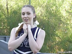 Hot cheerleader's porn interview is going well and she is a true BBC slut