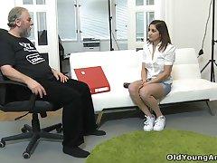 Old fart enjoys fucking tight anal hole of pretty Russian teen Ulia