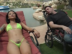 Relaxing heavens drapery chair Asian sweetie Saya Song wanna have good alfresco fuck
