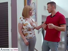 Single cougar Sara Psychology retardate seduces handsome young designer plus gives him boobjob
