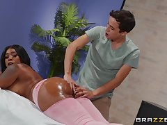 Fat ass ebony Ms London fucked on the massage table by a white stud