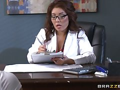 Nice threesome at the office with babes Akira Lane with an increment of Lola Foxx