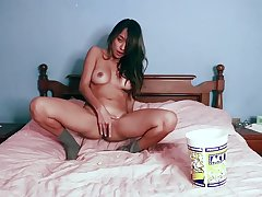 Atrophied young hon loves flashing nude with the addition of masturbating