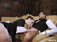Naughty maid Paige Turnah gives a blowjob near horny butler