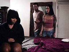 Interracial threesome on the bed with Katrina Jade and Jenna Foxx
