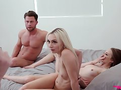 Step-siblings get caught having an FFM threesome in put emphasize bedroom