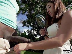Beautiful maid Kira Perez greedily blows super long BBC outdoors plus gets poked
