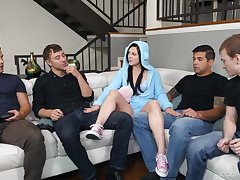 Petra knows how here entertain her stepbrother's friends and she gives hot BJs