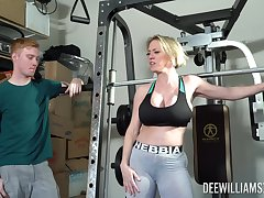 Busty mom with big booty, nice ventilate at the gym and hardcore making love