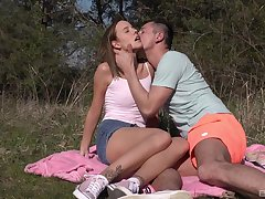 Outdoor fun with cock for a skinny shy teen brightly-lit
