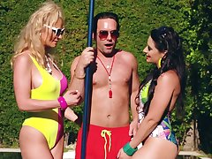 MILFs share the lifeguard's big dick while mainly gorge oneself