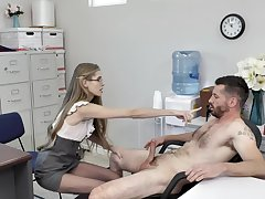 Skinny slut Kyaa Chimera gets her pussy licked and fucked in the office