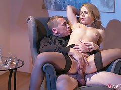 Provocative blonde wife teases close by her lingerie and gets fucked unchanging