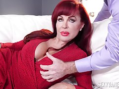 Rough front with a busty mature peckish for cock in both holes