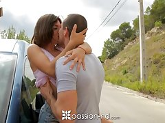 Highly emotional natural cowgirl Julia Roca moans as she rides unafraid cock