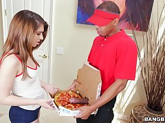 Pizza delivery guy gives teen Joseline Kelly an ancillary attending of human nature