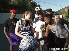Blackguardly basketball perfection bangs slutty white cheerleader Arietta Adams