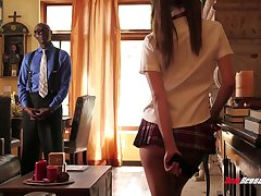 Smutty neonate in extremely short kilt spread out Riley Reid seduces her black professor