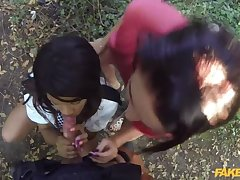 Bad-Lands: Outdoor Threesome With Two Big Pairs of Tits