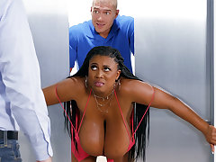 Stuck huge-chested black screwed impressed by wardress